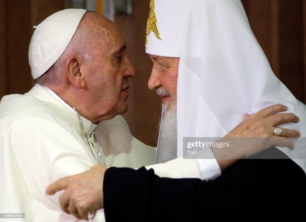 Pope Francis and the head of the Russian Orthodox Church Patriarch Kirill embrace during a historic meeting in Havana on February 12 2016 Pope...