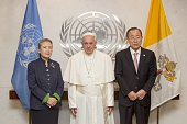 Pope Francis and UN Secretary General Ban KiMoon pose after the Pope's meeting with United Nations staff before his speech at UN General Assembly at...