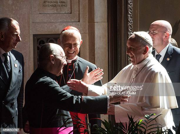 Pope Francis arrives at a Midday Prayer service with US bishops at the Cathedral of St Matthew the Apostle in Washington DC on September 23 2015 on...