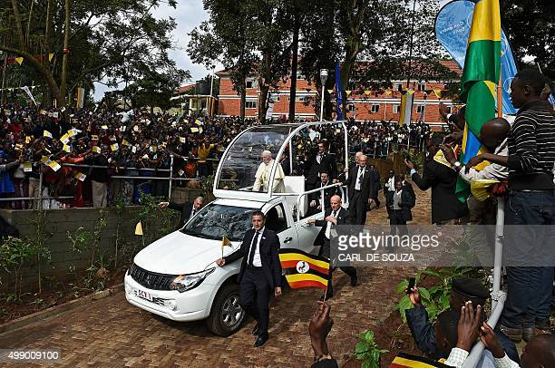 Pope Francis arrives at Namugongo Martyrs' Shrine before holding mass on November 28 2015 Pope Francis arrived in Uganda on November 27 on the second...