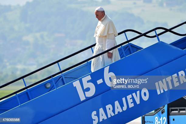 Pope Francis arrives at Sarajevo International airport for a one day visit in Bosnia aimed at bolstering reconciliation between Serb Croat and Muslim...