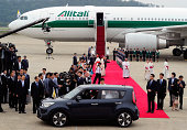 Pope Francis arrives at Seoul military airport on August 14 2014 in Seoul South Korea Pope Francis is visiting South Korea from August 14 to August...