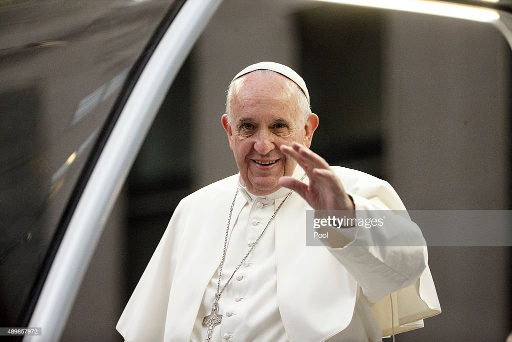 Pope Francis arrives at St. Patrick's Cathedral aboard the popemobile September 24, 2015 in New York City. The pope is on a six-day visit to the U.S., with stops in Washington, New York City and Philadelphia.