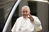 Pope Francis arrives at St Patrick's Cathedral aboard the popemobile September 24 2015 in New York City The pope is on a sixday visit to the US with...
