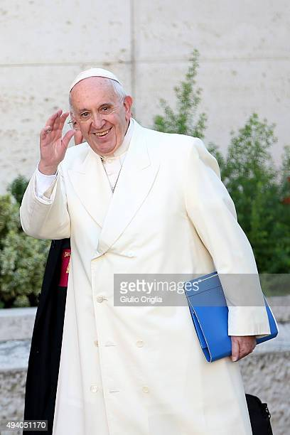 Pope Francis arrives at the closing session of the Synod on the themes of family the at Synod Hall on October 24 2015 in Vatican City Vatican...