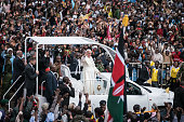 Pope Francis arrives at the University of Nairobi for a public mass in downtown Nairobi on November 26 in Nairobi Kenya Pope Francis makes his first...