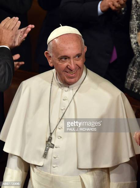 Pope Francis arrives before addressing the joint session of Congress on September 24 2014 in Washington DC The Pope is the first leader of the Roman...