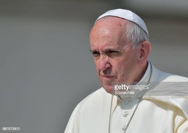 Pope Francis arrives for a weekly general audience at St Peter's square on May 24 2017 in Vatican US President Donald Trump met Pope Francis at the...