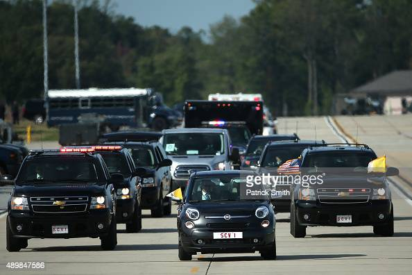 Pope Francis arrives in a Fiat for his departure from Washington DC en route to New York City on September 24 2015 in Joint Base Andrews MarylandThe...