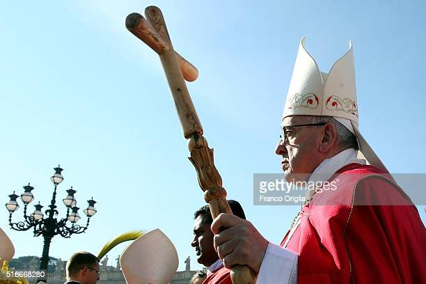 Pope Francis arrives in procession at St Peter's Square during the Palm Sunday Mass on March 20 2016 in Vatican City Vatican Pope Francis on Sunday...