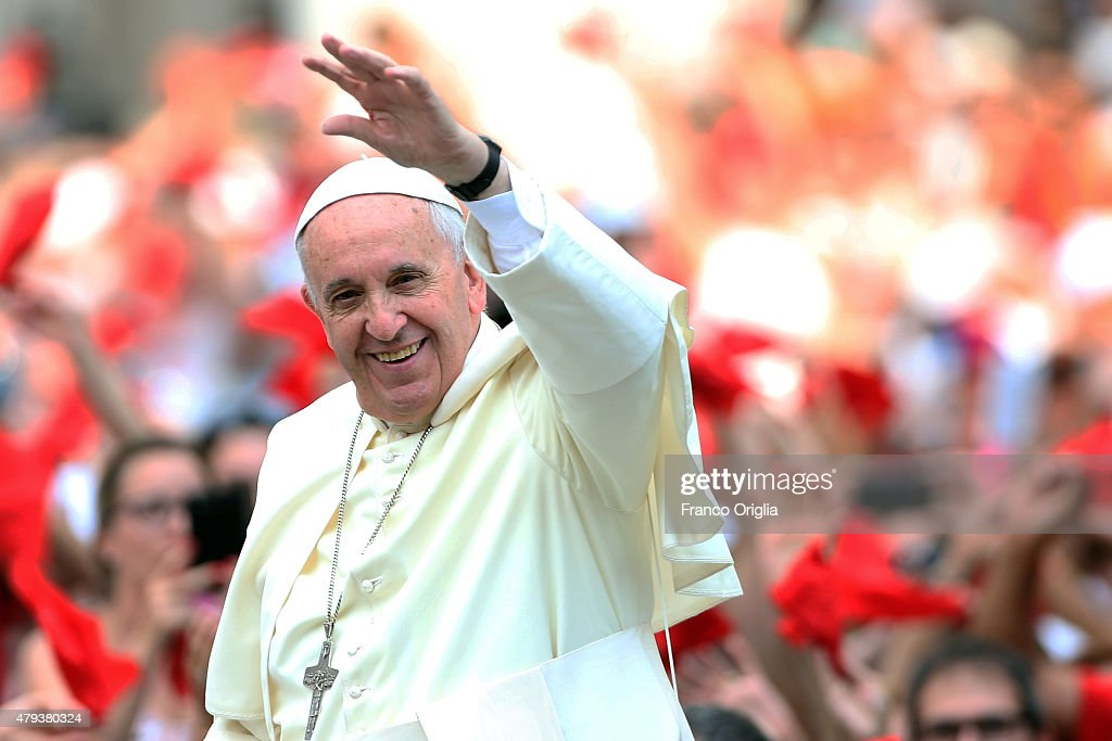Pope Francis arrives in St Peter's Square for a meeting with members of the Renewal of the Holy Spirit, who have come to Rome for their 38th annual Convocation on July 3, 2015 in Vatican City, Vatican. Pope Francis emphasized the ecumenical dimension of the charismatic movement, rooting it in our common Baptism.