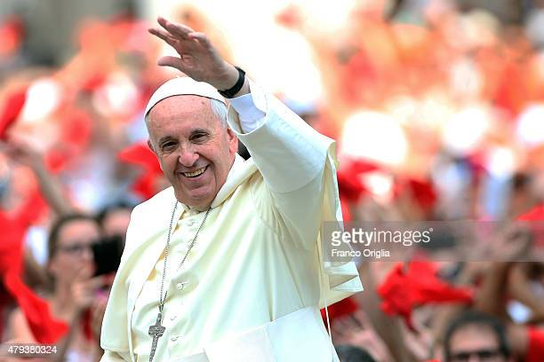Pope Francis arrives in St Peter's Square for a meeting with members of the Renewal of the Holy Spirit who have come to Rome for their 38th annual...