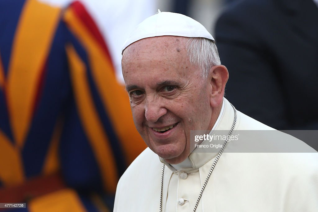 <a gi-track='captionPersonalityLinkClicked' href=/galleries/search?phrase=Pope+Francis&family=editorial&specificpeople=2499404 ng-click='$event.stopPropagation()'>Pope Francis</a> arrives in St. Peter's Square for a meeting with the Roman Diocesans on June 14, 2015 in Vatican City, Vatican. The Pontiff invited everyone to pay attention to environmental issues during his Sunday Angelus blessing. His upcoming encyclical 'Laudato Sii' on the environment will be launched at a Vatican on Thursday.