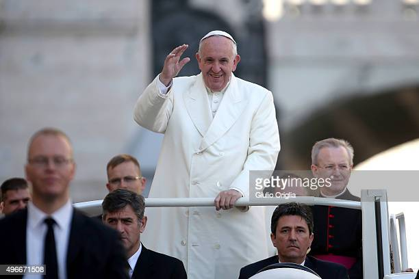 Pope Francis arrives in St Peter's Square to hold his weekly audience at The Vatican on November 11 2015 in Vatican City Vatican During the event the...