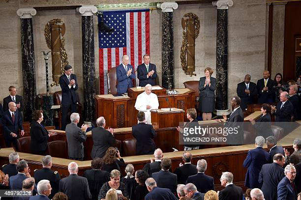 Pope Francis arrives to address the joint session of Congress on September 24 2014 in Washington DC The Pope is the first leader of the Roman...