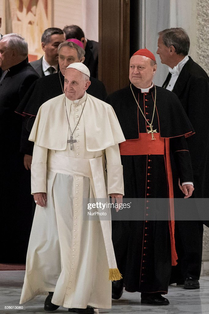 <a gi-track='captionPersonalityLinkClicked' href=/galleries/search?phrase=Pope+Francis&family=editorial&specificpeople=2499404 ng-click='$event.stopPropagation()'>Pope Francis</a> arrives to celebrate a special audience with participants at a congress on the progress of regenerative medicine and its cultural impact in the Paul VI hall in Vatican City, Vatican on April 29, 2016.