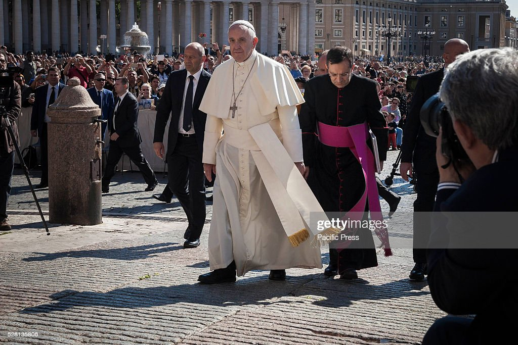 S SQUARE, VATICAN CITY, VATICAN - : Pope Francis arrives to celebrate his Weekly General Audience in St. Peter's Square. Pope Francis says God loves each and every one of us, He is totally extraneous to the throwaway culture of today and like the good shepherd he does not want a single person to be lost.