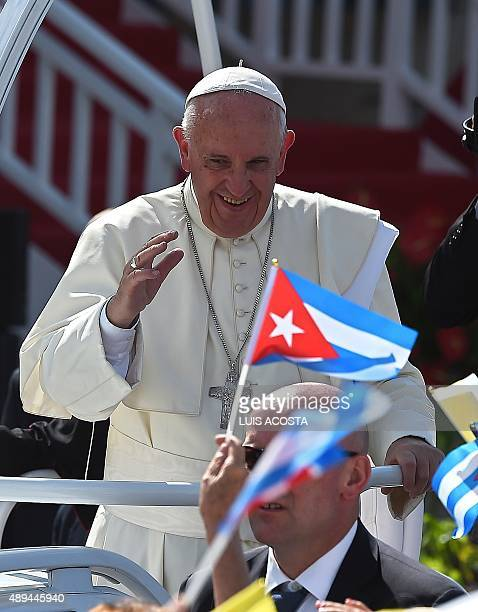 Pope Francis arrives to give a morning mass at the Calixto Garcia square in Holguin in eastern Cuba on September 21 2015 Holguin a cradle of Catholic...
