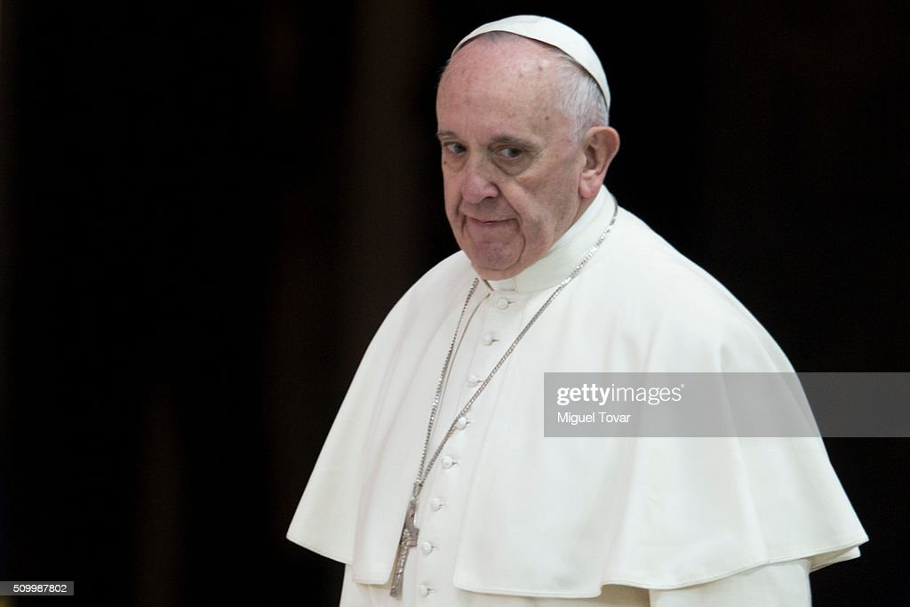 <a gi-track='captionPersonalityLinkClicked' href=/galleries/search?phrase=Pope+Francis&family=editorial&specificpeople=2499404 ng-click='$event.stopPropagation()'>Pope Francis</a> arrives to his welcome ceremony at Palacio Nacional on February 13, 2016 in Mexico City, Mexico. <a gi-track='captionPersonalityLinkClicked' href=/galleries/search?phrase=Pope+Francis&family=editorial&specificpeople=2499404 ng-click='$event.stopPropagation()'>Pope Francis</a> will be on a five days visit in Mexico from February 12 to 17 where he is expected to visit five states.