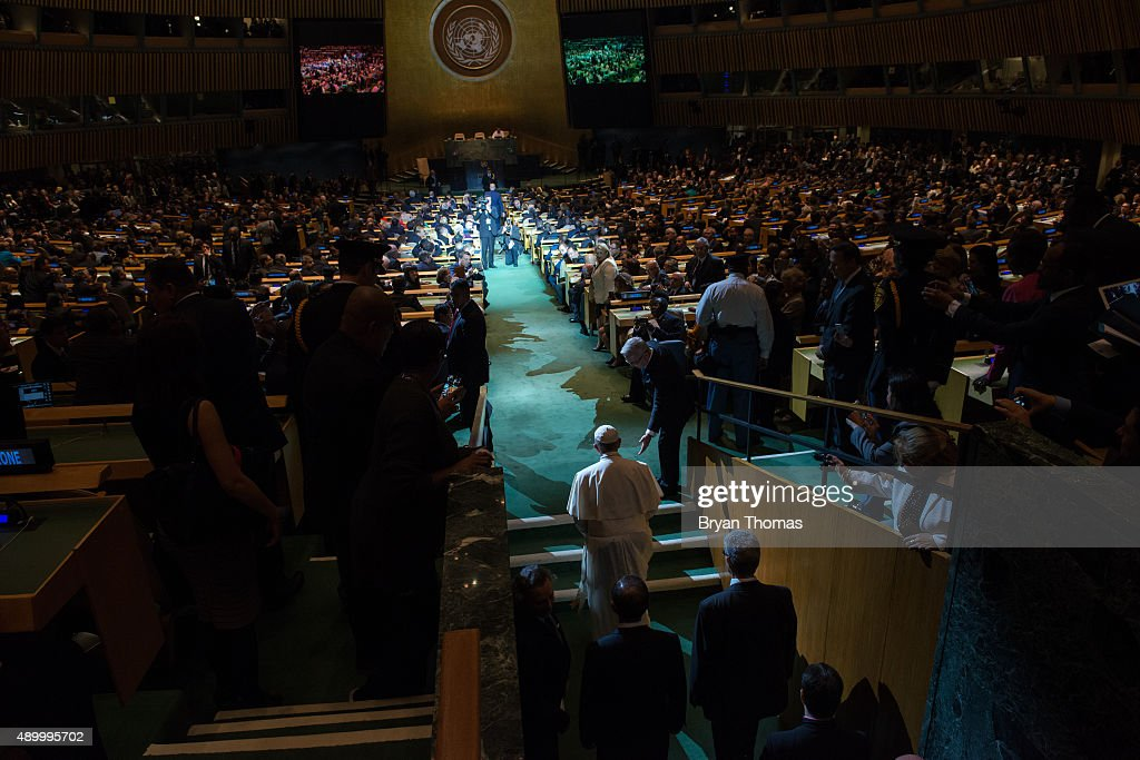 Pope Francis arrives to the General Assembly of the United Nations on September 25 2015 in New York City Pope Francis who arrived in New York on...