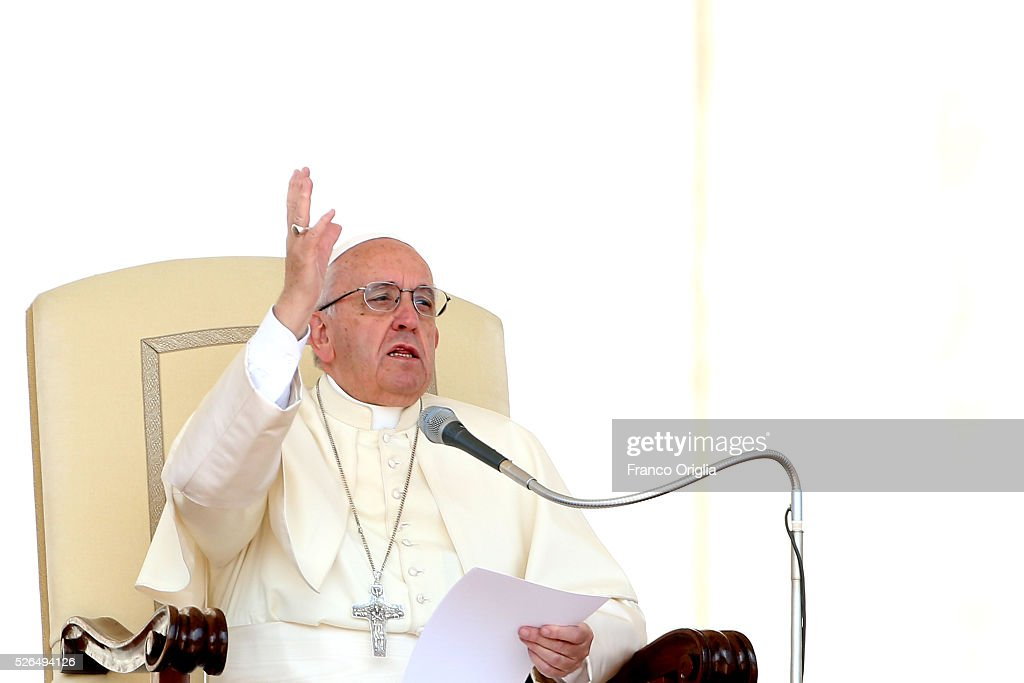 Pope Francis attends a Jubilee Audience in St. Peter's Square on April 30, 2016 in Vatican City, Vatican. Pope Francis held an extraordinary Jubilee Audience in St. Peter's Square for thousands of eager pilgrims. The Audience also celebrated the Jubilee for members of the police and armed forces.