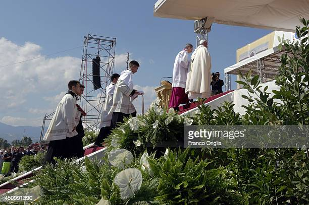Pope Francis attends a mass during the feastday Mass of Corpus Domini on the plains of the small town of Sibari on June 21 2014 in Sibari Cosenza...