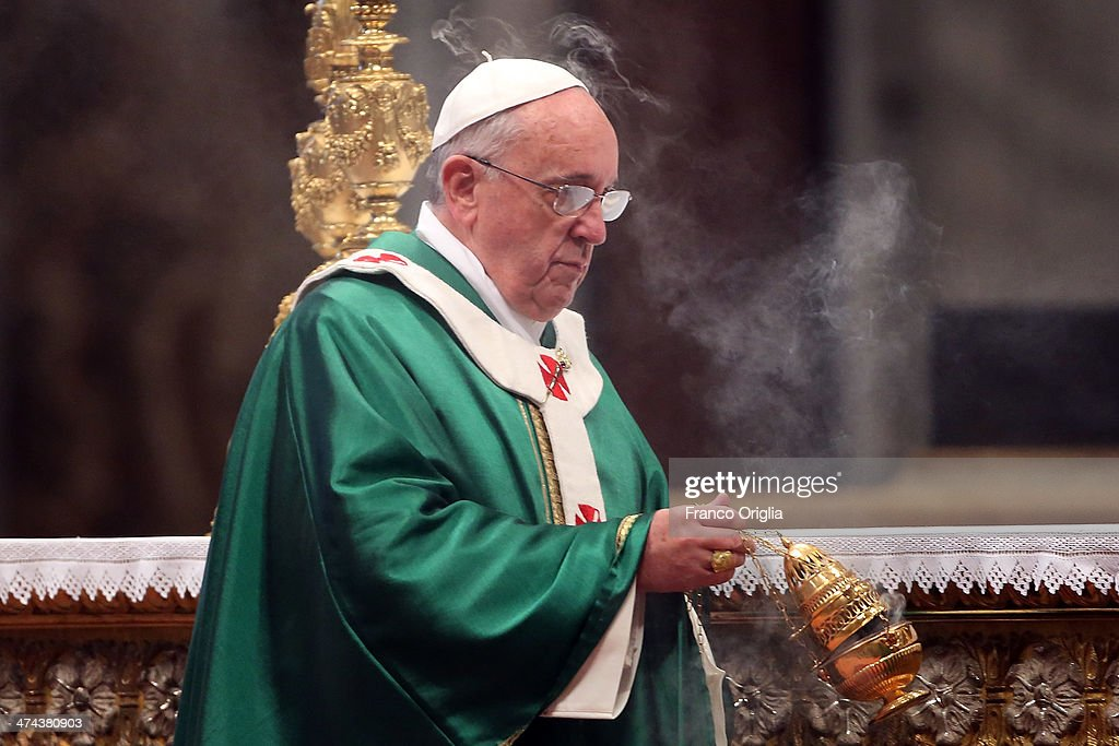 <a gi-track='captionPersonalityLinkClicked' href=/galleries/search?phrase=Pope+Francis&family=editorial&specificpeople=2499404 ng-click='$event.stopPropagation()'>Pope Francis</a> attends a mass with newly appointed cardinals at St Peter's Basilica on February 23, 2014 in Vatican City, Vatican. <a gi-track='captionPersonalityLinkClicked' href=/galleries/search?phrase=Pope+Francis&family=editorial&specificpeople=2499404 ng-click='$event.stopPropagation()'>Pope Francis</a> presided over Mass in Saint Peter's Basilica on Sunday, one day after 19 bishops were added to the college of cardinals.