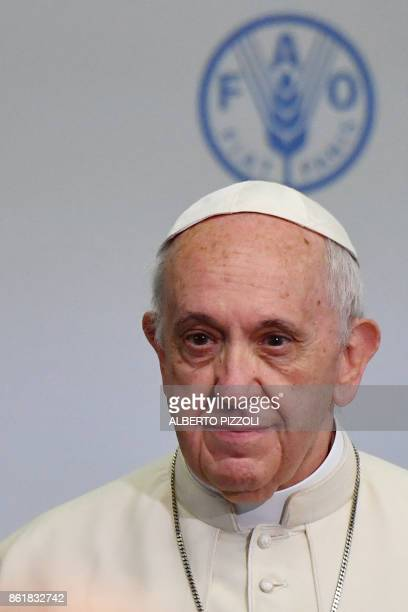 Pope Francis attends a meeting at the Food and Agriculture Organization headquarters on October 16 2017 in Rome on the occasion of World Food Day /...