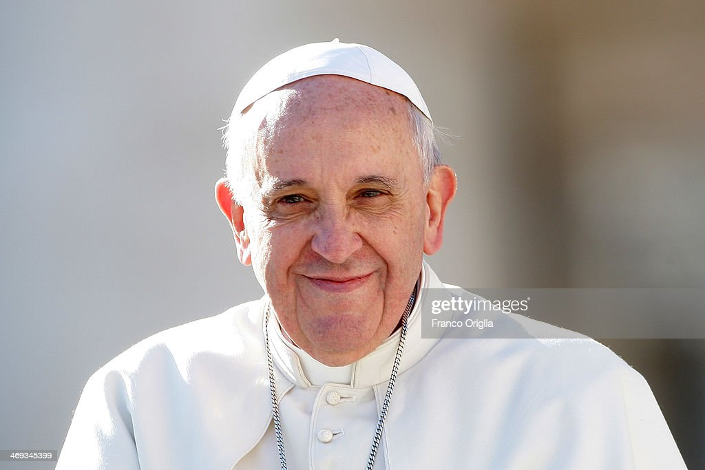 Pope Francis attends a meeting with engaged couples from all over the world gathered today on the feast of St Valentine in St Peter's Square on...