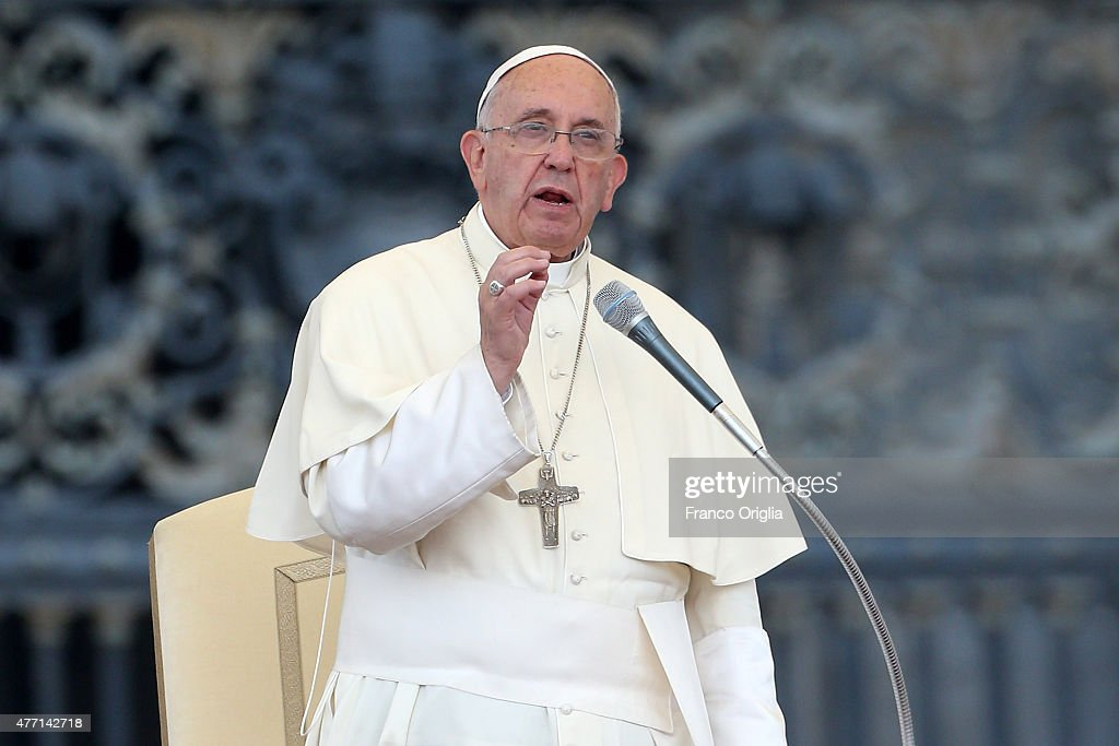 Pope Francis attends a meeting with the Roman Diocesans in St. Peter's Square on June 14, 2015 in Vatican City, Vatican. The Pontiff invited everyone to pay attention to environmental issues during his Sunday Angelus blessing. His upcoming encyclical 'Laudato Sii' on the environment will be launched at a Vatican on Thursday.