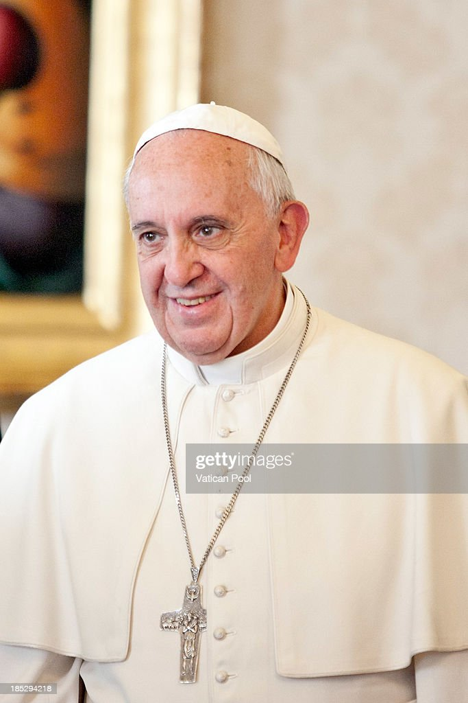 <a gi-track='captionPersonalityLinkClicked' href=/galleries/search?phrase=Pope+Francis&family=editorial&specificpeople=2499404 ng-click='$event.stopPropagation()'>Pope Francis</a> attends an audience with Cameroon President Paul Biya at Vatican Apostolic Palace on October 18, 2013 in Vatican City, Vatican. During the colloquial discussions, satisfaction was expressed for good existing bilateral relations. Finally, attention was turned to various challenges relating to sub-Saharan Africa, emphasising Cameroon's commitment to security and peace in the Region.