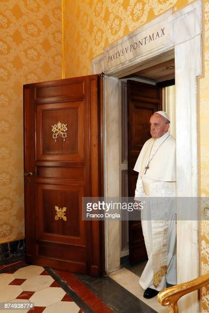 Pope Francis attends an audience with new President of Austria Alexander Van Der Bellen at the Apostolic Palace on November 16 2017 in Vatican City...