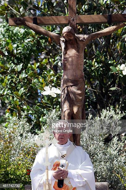 Pope Francis attends an outdoor papal mass on July 5 2014 in Campobasso Italy In his one day pastoral visit to the Italian region of Molise Pope...