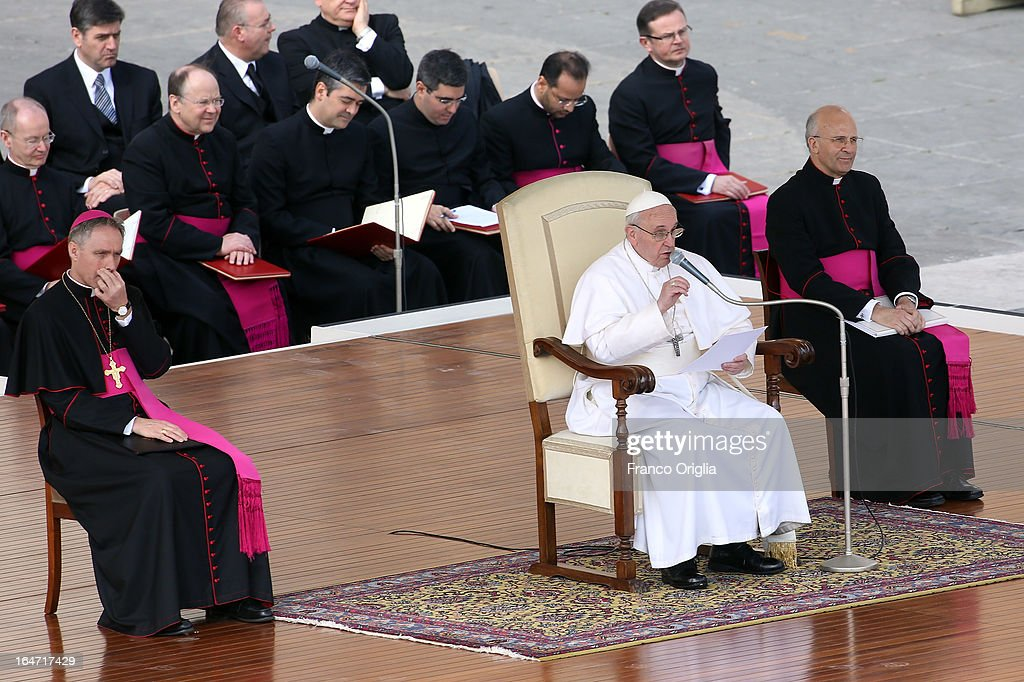 <a gi-track='captionPersonalityLinkClicked' href=/galleries/search?phrase=Pope+Francis&family=editorial&specificpeople=2499404 ng-click='$event.stopPropagation()'>Pope Francis</a> attends his first weekly general audience as pope in St Peter's Square on March 27, 2013 in Vatican City, Vatican.
