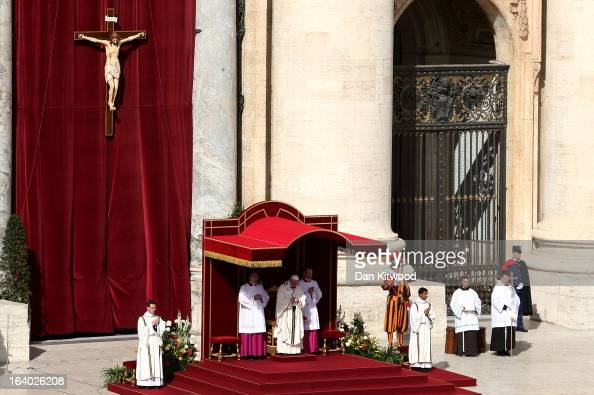 Pope Francis attends his Inauguration Mass in St Peter's Square on March 19 2013 in Vatican City Vatican The mass is being held in front of an...