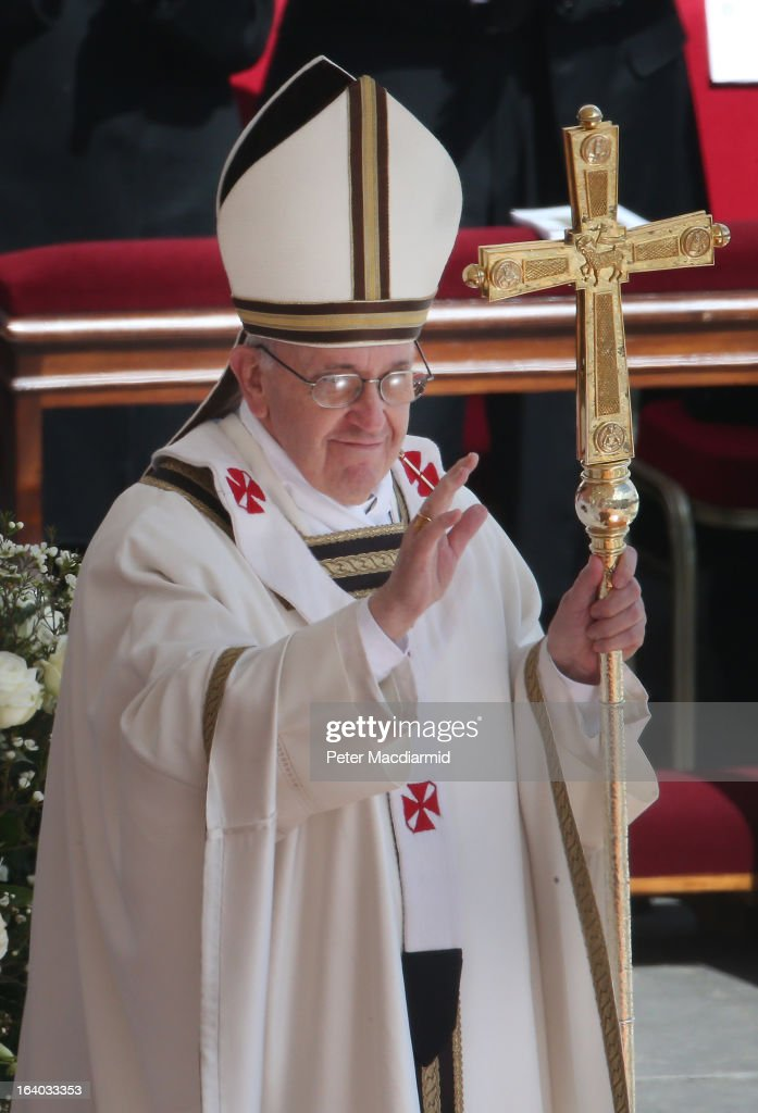 <a gi-track='captionPersonalityLinkClicked' href=/galleries/search?phrase=Pope+Francis&family=editorial&specificpeople=2499404 ng-click='$event.stopPropagation()'>Pope Francis</a> attends his Inauguration Mass in St Peter's Square on March 19, 2013 in Vatican City, Vatican. The mass is being held in front of an expected crowd of up to one million pilgrims and faithful who have filled the square and the surrounding streets to see the former Cardinal of Buenos Aires officially take up his role as pontiff. <a gi-track='captionPersonalityLinkClicked' href=/galleries/search?phrase=Pope+Francis&family=editorial&specificpeople=2499404 ng-click='$event.stopPropagation()'>Pope Francis</a>' inauguration takes place in front of Cardinals and spiritual leaders as well as heads of state from around the world.