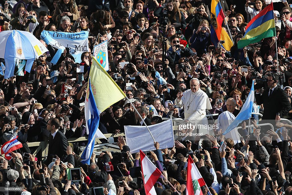 Pope Francis attends his Inauguration Mass in St Peter's Square on March 19, 2013 in Vatican City, Vatican. The mass is being held in front of an expected crowd of up to one million pilgrims and faithful who have filled the square and the surrounding streets to see the former Cardinal of Buenos Aires officially take up his role as pontiff. Pope Francis' inauguration takes place in front of Cardinals and spiritual leaders as well as heads of state from around the world.