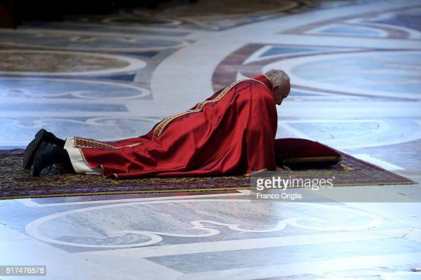 Pope Francis attends the Celebration of the Lord's Passion at St Peter's Basilica on March 25 2016 in Vatican City Vatican On Good Friday Pope...