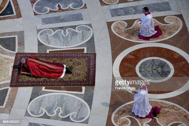Pope Francis attends the Celebration of the Lord's Passion at St Peter's Basilica on April 14 2017 in Vatican City Vatican On Good Friday Pope...
