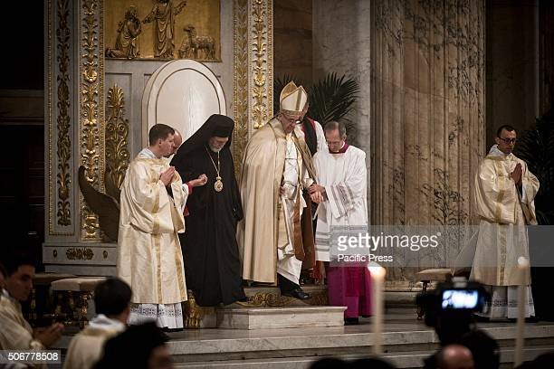 Pope Francis attends the opening of the Holy Door at the Papal Basilica of St Paul outside the Walls during the feast of the Conversion of Paul the...