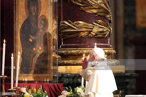 Pope Francis attends the recitation of the Rosary at Basilica di Santa Maria Maggiore on May 4 2013 in Rome Italy This is Pope FrancisÕ second visit...