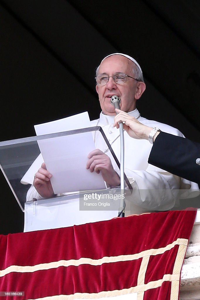 <a gi-track='captionPersonalityLinkClicked' href=/galleries/search?phrase=Pope+Francis&family=editorial&specificpeople=2499404 ng-click='$event.stopPropagation()'>Pope Francis</a> attends the Regina Coeli Prayer from the window of his studio overlooking St. Peter's Square on April 1, 2013 in Vatican City, Vatican.