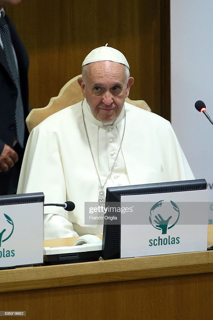<a gi-track='captionPersonalityLinkClicked' href=/galleries/search?phrase=Pope+Francis&family=editorial&specificpeople=2499404 ng-click='$event.stopPropagation()'>Pope Francis</a> attends 'Un Muro o Un Ponte' Seminary held by <a gi-track='captionPersonalityLinkClicked' href=/galleries/search?phrase=Pope+Francis&family=editorial&specificpeople=2499404 ng-click='$event.stopPropagation()'>Pope Francis</a> at the Paul VI Hall on May 29, 2016 in Vatican City, Vatican.