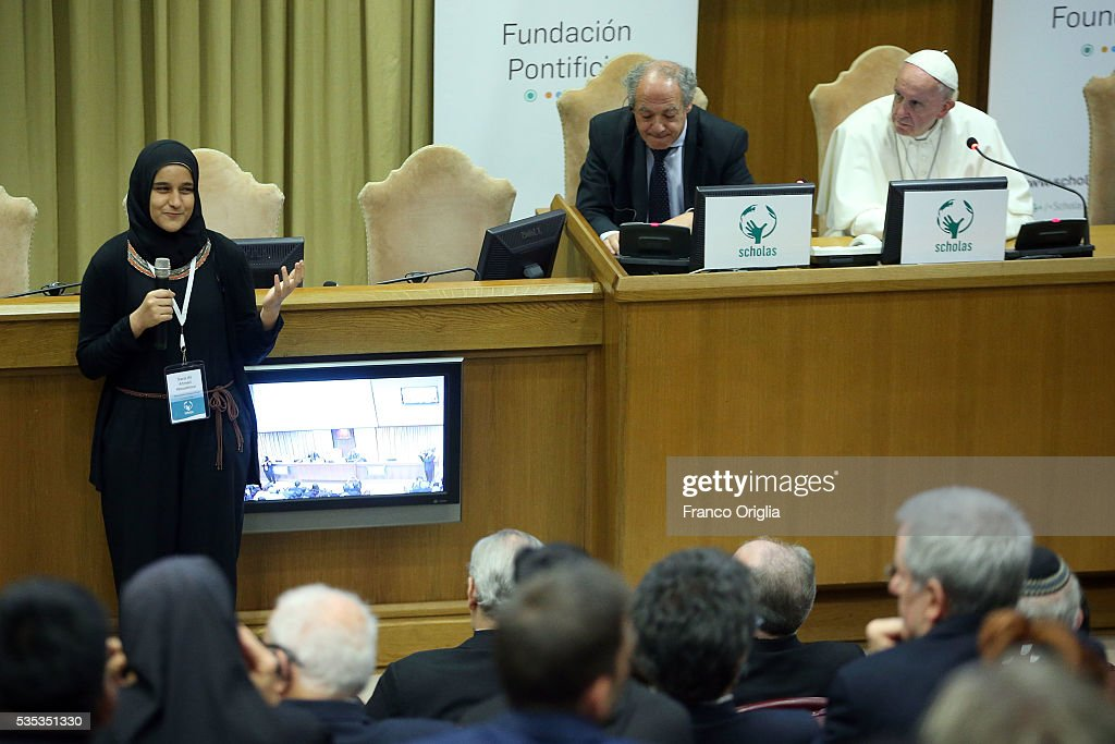 Pope Francis attends 'Un Muro o Un Ponte' Seminary held by Pope Francis at the Paul VI Hall on May 29, 2016 in Vatican City, Vatican.