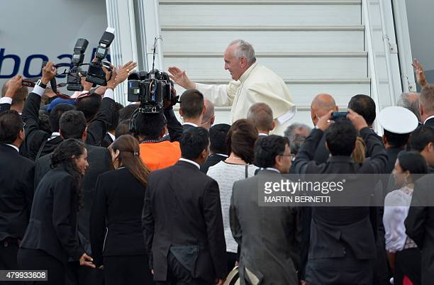 Pope Francis boards a plane bound for Bolivia at Quito's airport on July 8 2015 Pope Francis the first Latin American pontiff heads Wednesday to...