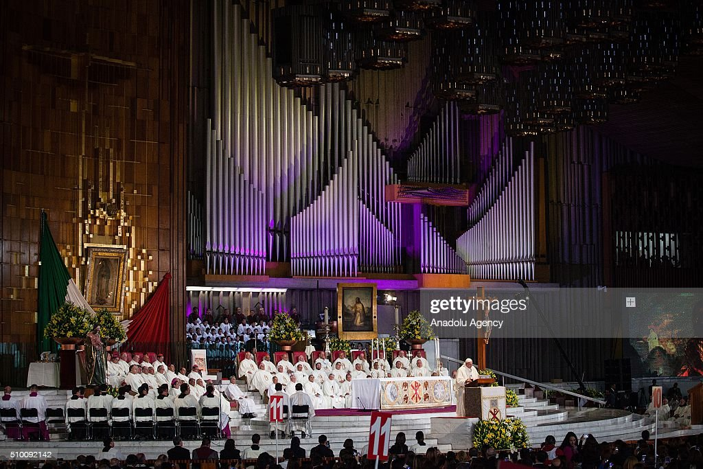 Pope Francis celebrates a mass at the Basilica de Guadalupe in Mexico City during his Pastoral Visit to Mexico on February 13, 2016.