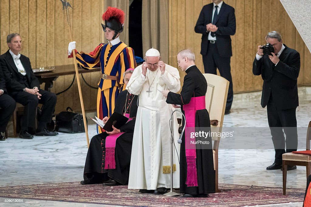 Pope Francis celebrates a special audience with participants at a congress on the progress of regenerative medicine and its cultural impact in the Paul VI hall in Vatican City, Vatican on April 29, 2016.