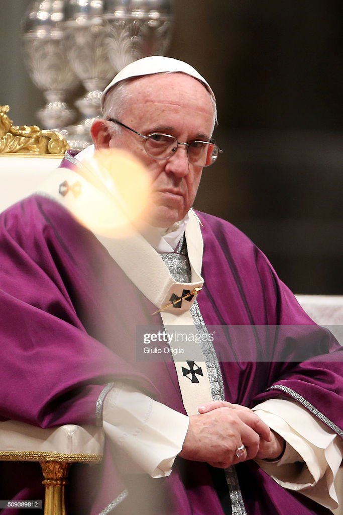 <a gi-track='captionPersonalityLinkClicked' href=/galleries/search?phrase=Pope+Francis&family=editorial&specificpeople=2499404 ng-click='$event.stopPropagation()'>Pope Francis</a> celebrates Ash Wednesday Mass at St. Peter's Basilica on February 10, 2016 in Vatican City, Vatican. Ash Wednesday opens the liturgical 40 day period of Lent; encouraging prayer, fasting, penitence and alms giving, leading up to Easter. The Pontiff will leave on Friday for Cuba and Mexico where he will hold an unprecedented meeting with Patriarch Kirill of Moscow and All Russia on February 12th.