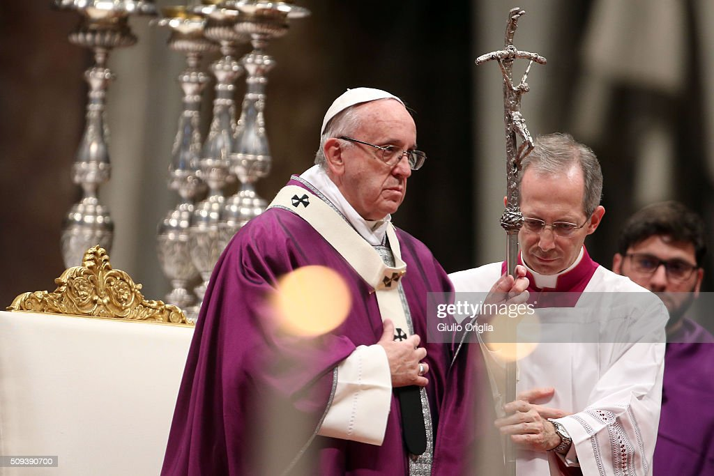 Pope Francis celebrates Ash Wednesday Mass at St. Peter's Basilica on February 10, 2016 in Vatican City, Vatican. Ash Wednesday opens the liturgical 40 day period of Lent; encouraging prayer, fasting, penitence and alms giving, leading up to Easter. The Pontiff will leave on Friday for Cuba and Mexico where he will hold an unprecedented meeting with Patriarch Kirill of Moscow and All Russia on February 12th.