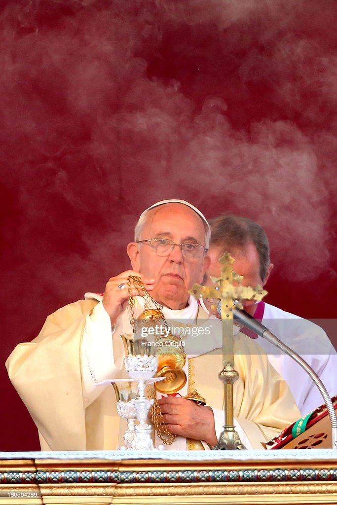 <a gi-track='captionPersonalityLinkClicked' href=/galleries/search?phrase=Pope+Francis&family=editorial&specificpeople=2499404 ng-click='$event.stopPropagation()'>Pope Francis</a> celebrates solemnity of all Saints at the Monumental Cemetery of Verano on November 1, 2013 in Rome, Italy. The pontiff celebrated Mass on Friday marking the solemnity of All Saints and afterwards prayed for the migrants who died in the desert or drowned at sea. The Mass was celebrated at the entrance of Rome's Verano cemetery and took place exactly 20 years after the last papal visit there.